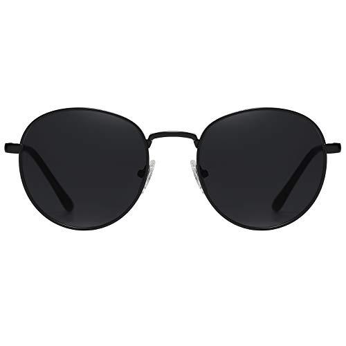 H HELMUT JUST Gafas de sol para Mujer y Hombre Vintage Redondas con Montura en Metal Lente de Policarbonato Resistente al Impacto