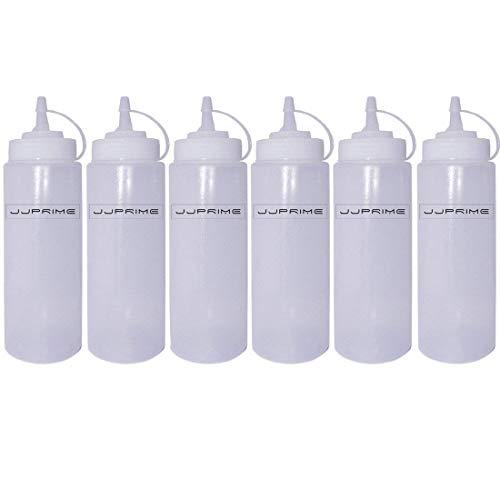 JJOnlinestore-6unidades plástico claro botella de apretar dispensador de condimentos Ketchup Mostaza Chili Salsa Mayonesa vinagre botellas tapa abatible., Transparente, 24 Oz / 700ml