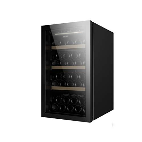 hanzeni Nevera para Vino - Independiente - Refrigerador De Vino Compacto con Capacidad para 49 Botellas, Puerta De Espejo con Sensor De Luz Sin Marco– [Clase De Eficiencia Energética A+]