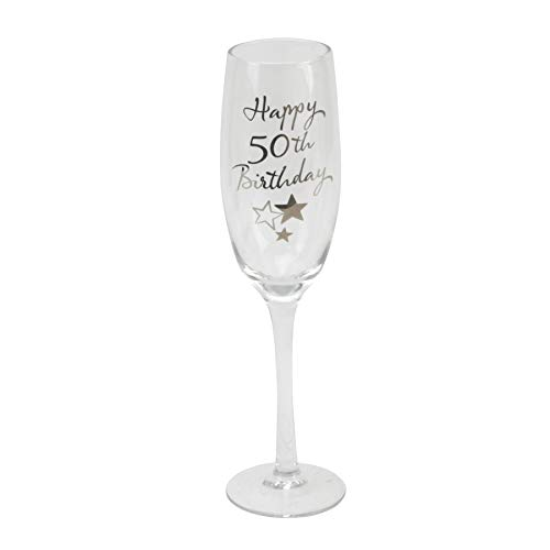 50th Birthday Stars Champagne Flute Glass Gift
