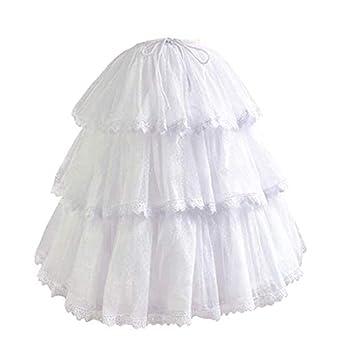 HappyStory Long-Short White Pannier Hoop Skirt Underskirt Petticoat Lolita Dress