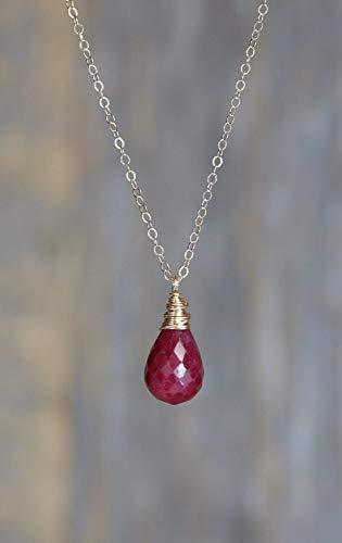 Genuine Ruby Gemstone Pendant Necklace - July Birthstone Birthday Gift Idea -17 Inch Length
