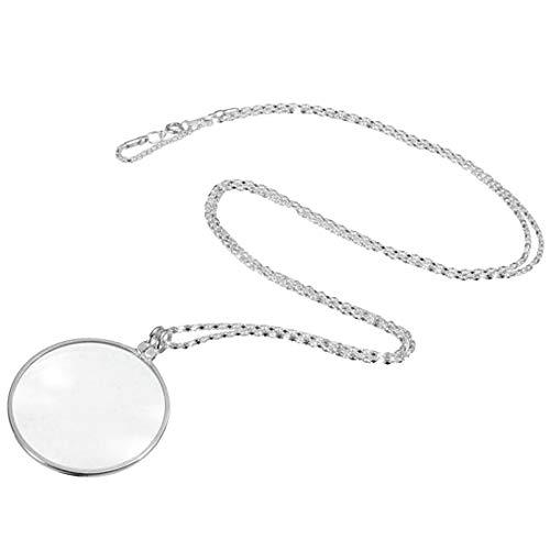 Tivivose Decorativo monóculo Collar con 5X Lupa Lupa de Oro Colgante de Plata Collar de Cadena de joyería for Las Mujeres (Color : Silver 5X Magnifier)