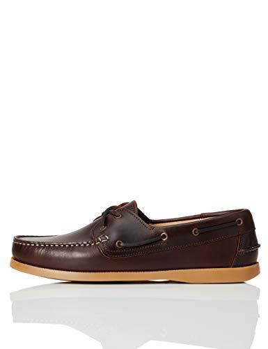 find. Amz038_leather Herren Bootsschuhe, Cognac/Gum, 43 EU