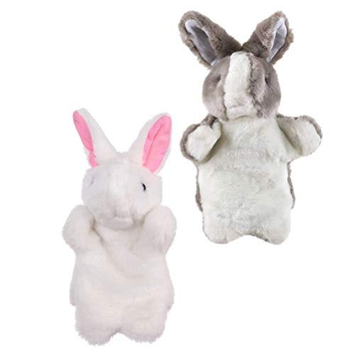Toddmomy 2 Piezas de Marionetas de Mano para Niños Títeres de Mano para Conejo Decoración de Pascua Juguetes de Peluche de Fantasía Juguetes de Pascua para Niños Juegos de rol Muñeca
