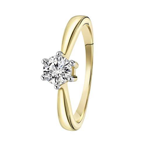 Diamond Solitair - Gelbgoldener Solitärring mit Diamant (0,50ct). - für Damen - Gelb