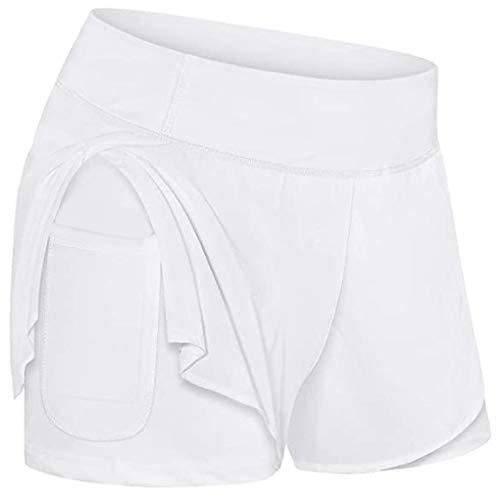 Xniral Damen Shorts Sommer Zweischichtige Jogginghose mit Handytasche für Yoga, Laufen, Fitness, Ballspiele(Weiß,S)