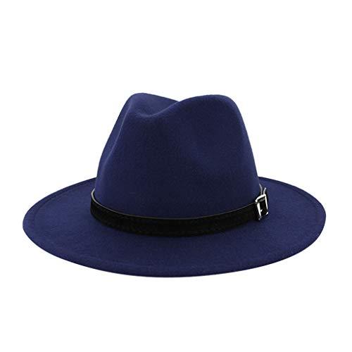 Chapeau Fedora en feutre classique pour homme et femme - Style vintage - Gangster Mobster - Réglable - Couleur : bleu marine - Taille : taille unique
