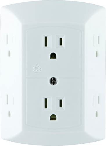 GE 6 Outlet Wall Plug Adapter Power Strip, Extra Wide Spaced Outlets for Cell Phone Charger, Power Adapter, 3 Prong, ...