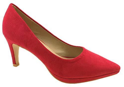 Zapatos de tacón bajo para Mujer, de Ante sintético, Suela de Piel, Talla 42 a 38, Color Rojo, Talla 38 EU