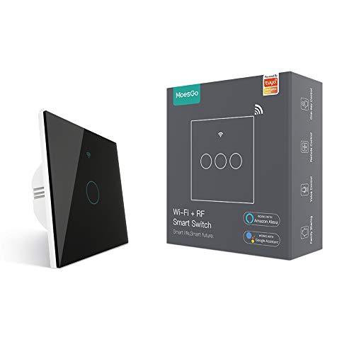MoesGo WLAN Smart Touch Wandschalter mit 1 Wege oder Multi-Control Zuordnung(2 Wege),Relaisstatus optional,Kompatibel mit Smart Life/Tuya App,Fernbedienung RF433,Alexa und Google Home Schwarz(1 Gang)