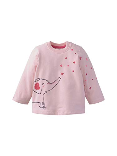 TOM TAILOR Mädchen Strick & Sweatshirts Sweatshirt mit Elefanten-Print Rose Shadow|Rose,74,K2015,5455
