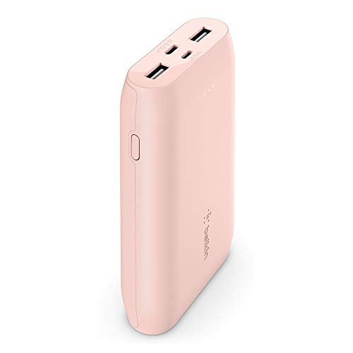 Belkin Portable Power Bank Charger 10K (Portable Charger Battery Pack w/USB-C + Dual USB Ports, 10000mAh Capacity) for iPhone, AirPods, iPad and More, Rose Gold (F8J267btC00)