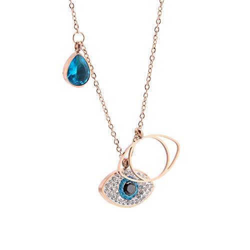 O&K GRUPPE Damen Halskette Evil Eye Anhänger, schmuck mit GrystalRhinestein Augen, Turkisch Eye, Böses Augen Halskette, Rose Gold Schlüsselbein.