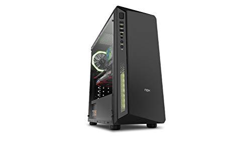 Nox Infinity Atom -NXINFTYATOM- Caja para ordenador, panel cristal templado, ventilador RGB 12 cm pre-instalado, LED, filtro antipolvo, color negro