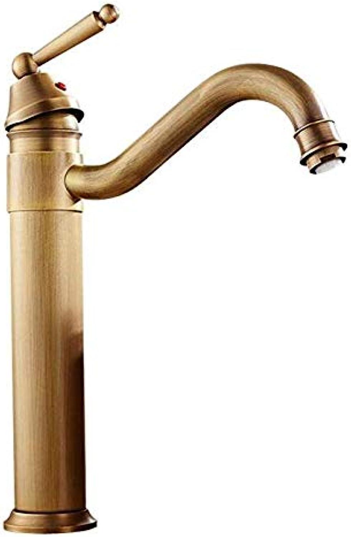 Basin Faucet Retro Faucetfaucet Continental Antique Copper Faucet Retro High redation Single-Hole Lavatory Faucet Bathroom Sink Faucet Hot and Cold Water
