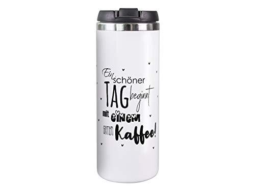 GRAZDesign Thermobecher Kaffeebecher Spruch EIN schöner Tag, Coffee to go Becher, Geschenk für Mama, Freundin, Kollegin, 450 ml Travel Mug Weiß