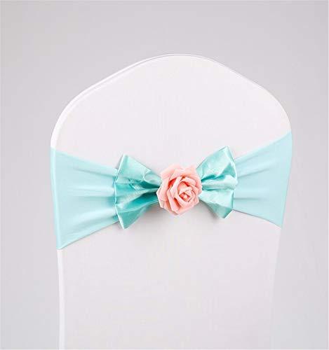 CULASIGN - Banda elástica para Silla para decoración de Boda, Tiffany Blau, 25 Unidades