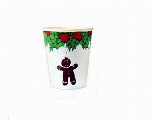 Christmas Holly Lot de 20 gobelets en papier à paroi simple avec couvercles