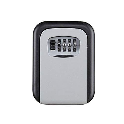 Caja de bloqueo de llave de plata montada en la pared de aleación de aluminio caja de seguridad resistente a la intemperie 4 dígitos combinación clave almacenamiento cerradura caja