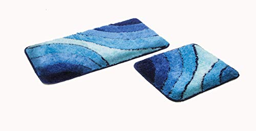 2- teiliges Badematten Set Wave blau