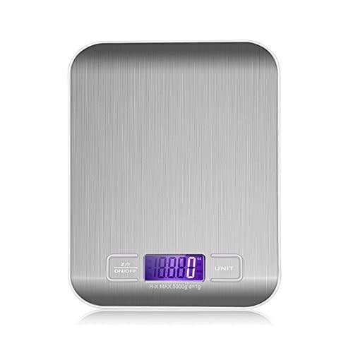GMZS Balance de la báscula de Cocina Digital Alimentado por USB 10kg 1 g Multifunción Escala de Alimentos para cocinar para Hornear Pesaje de hogares,Plata,5KG