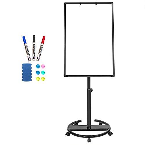 Mobiles Whiteboard – 90 x 60 cm, tragbare, magnetische, trocken abwischbare Tafel, Staffelei mit Flipchart-Haken 90x60 Schwarz