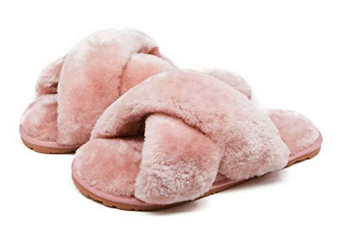 Women's Fuzzy Crossband Fluffy Furry Fur Slippers Flip Flop Winter Warm Cozy House Memory Foam Sandals Slides Soft Flat Comfy Anti-Slip Spa Indoor Outdoor Slip on (06/Pink, 7-8)