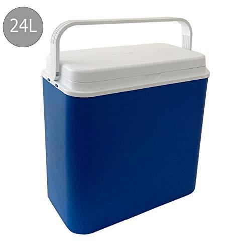 Mojawo - Nevera portátil ligera para exteriores, 24 litros, con asa, color azul y blanco