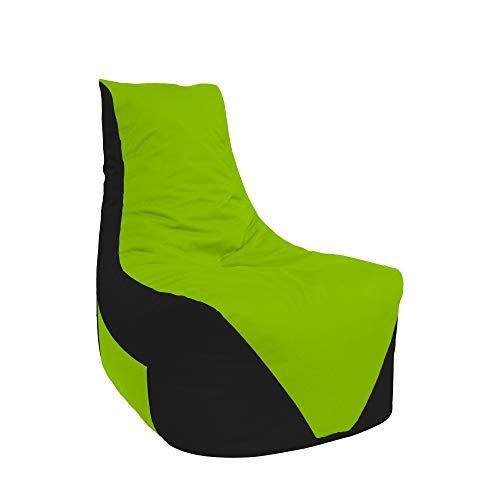 Lacasa Sitzsäcke Komfort Gamer mit Sitetentasche XL-XXL Kinder Erwachsene Indoor Outdoor Beanbag Sitzkissen (XXL - Erwachsene, Schwarz-Kiwigrün)