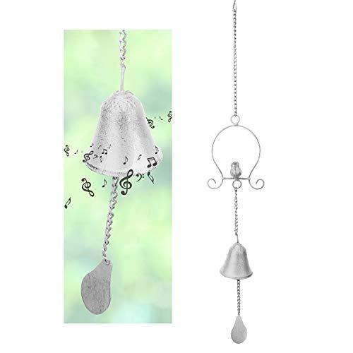 Lewondr Vogel Windspiel, Retro Schmiedeeisen Hängend Windklangspiel Klangspiel Ornament für Hausgarten Balkon Innen Außen Dekor, Weiß