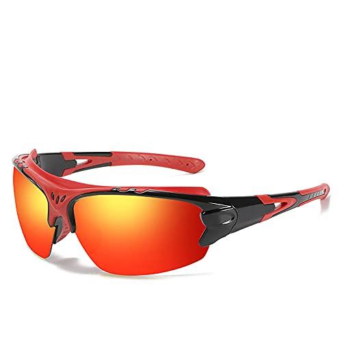 Esentia Gafas De Sol Polarizadas Hombres Mujeres Deportes Al Aire Libre A Prueba De Viento Lente TAC Luz Visible Tasa De Perspectiva 99.9 Pesca Golf,Rojo