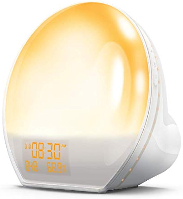 KEZIO Wake-up Light, Sonnenaufgangswecker mit USB-Ausgang, FM-Radio, Temp Feuchte-Monitor, Sonnenlicht & Sonnenuntergang im verblassenden Nachtlicht, Multi-Farbe-Stimmungslicht