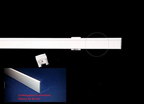 Portavisillos Barras con Velcro para Cortinas y visillos de Panel para Ventanas-Perfil con Velcro+Soporte+Peso-tamaño de 60