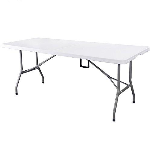 LVZAIXI Pliez Le Dessus en Plastique rectangulaire de Tables Pliantes dans la Table de Demi, capacité de Charge de 400 kilogrammes avec Les goupilles de sécurité en Acier