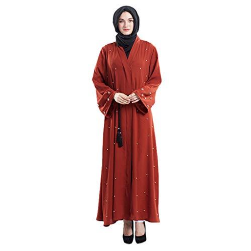 AmyGline Muslimische Kleider Damen islamische Kleider Besticktes Strickjacke Handperlen Maxikleider Elegant Kleid lang Robe Muslim Arab Kleid Dubai Kaftan Ramadan Kleider Gebet Kleid