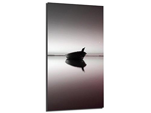 Alu-Dibond afbeelding ALU100502274 BOOT MEER KLEURRIJG 50 x 100 cm, metalen afbeelding, geborsteld oppervlak (Butlerfinish©), INCL. Ophangsysteemset