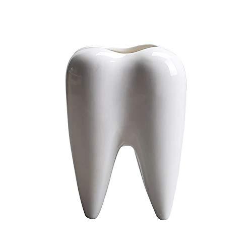Titular de la pluma de cerámica en forma de diente Mini maceta creativa para la oficina de escritorio Decoración del hogar Regalo