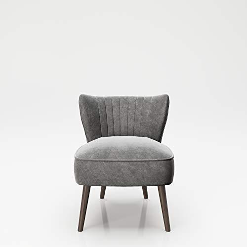 PLAYBOY Sessel mit Rückenlehne, Samtstoff, gepolsteter Loungestuhl aus Samt mit Bestickung und Keder, Massivholzfüsse, Cocktailsessel, Grau, Anthrazit, Retro-Design, Club-Stil, Lounge, Wohnzimmer