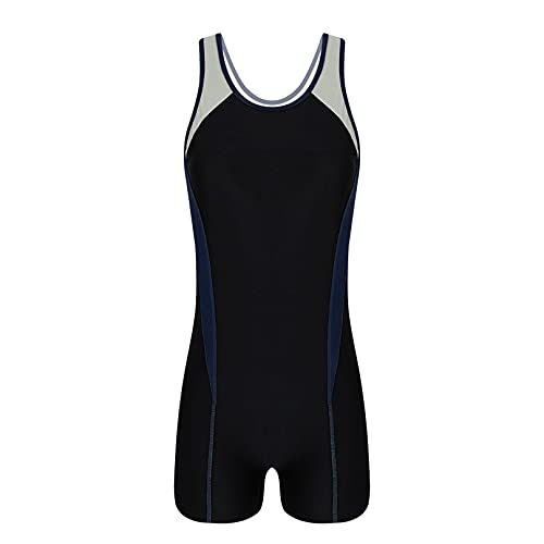 MSemis Women Sleeveless Racer Back One Piece Shorty Wetsuit Athletic Rashguard Shirts Swimsuit Silver&Navy_Blue XX-Large