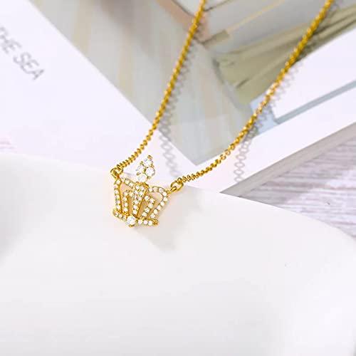 N/A Colgante de Collar de Mujer Collar Simple de Moda, Cadena Colgante de Corona de diseñador en el Cuello,Collar deColor Plateado Calientepara Mujer, Regalo de niña