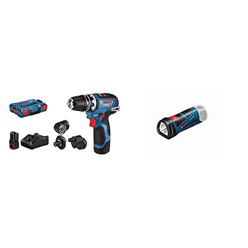 Bosch Professional 12V Akku-Bohrschrauber GSR 12V-35 FC (inkl. 2x3.0 Ah Akku, Schnellladegerät) - FlexiClick System & 12V System Akku LED Taschenlampe GLI 12V-80 (80 Lumen, ohne Akkus und Ladegerät)