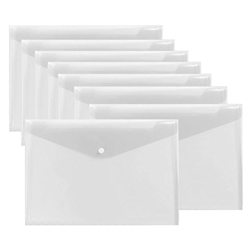 Warmter Poly Envelopes Clear Folder Plastic Clear Folders Clear Document Folder with Snap Button US Letter/ A4 Size Set of 12 White