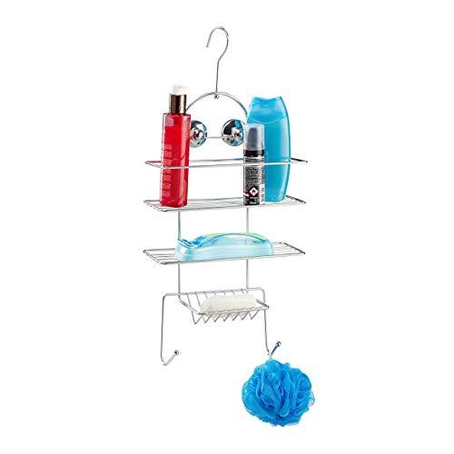 Relaxdays, Silber Duschregal ohne Bohren, Duschablage zum Hängen, Badablage mit Haken & Saugnäpfen, HBT 55 x 25 x 11,5cm