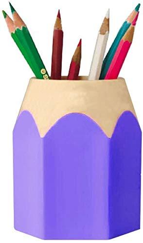 1 soporte para bolígrafo en forma de lápiz de doble uso, maceta de plástico extraíble para estudiantes, estuche para bolígrafo púrpura colorido creativo, material escolar para oficina, Bobury