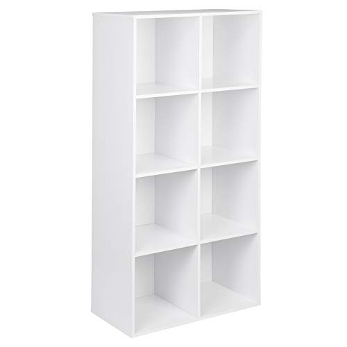 WOLTU Bücherregal SK002ws4 Bücherschrank Standregal Aufbewahrungregal Raumteiler Büroregal Aktenschrank, MDF, 8 Fächer, Weiß, 60 x 29,5 x 121cm