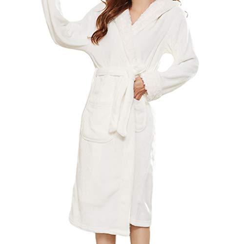 TOPBATHY Womens Warm Flanellen Robe Hooded Comfortabele Slaapmode Mouwen Winter Badjas Huis Jas Katoen Badjas voor Vrouwen Meisjes Dames S XXL Kleur: wit