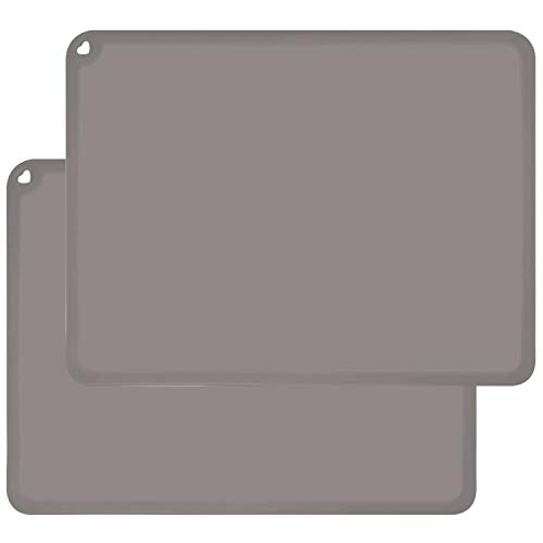 Kids Silicone Placemats, Baby Placemats for Kids Toddler Children Reusable Non-Slip Table Mats Baby Food Mats for Restaurant, 2 Pack, Gray