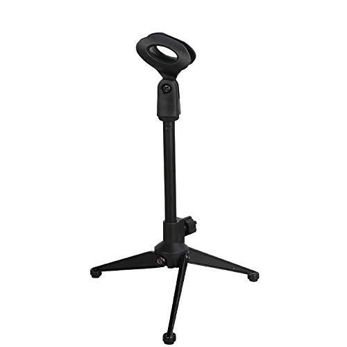Depusheng Microfono da tavolo per treppiede Supporto per microfono pieghevole Supporto regolabile per clip per microfono Shock per microfoni da karaok