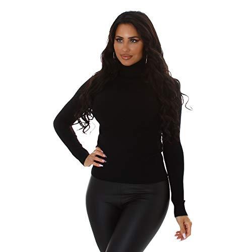 Jela London Damen Slim-Fit Feinstrick Pullover Langarm Stretch Rollkragen, Schwarz, 36-38
